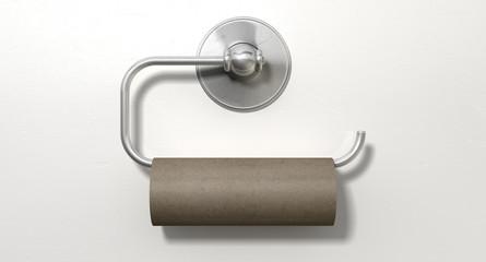 Empty Toilet Roll On Chrome Hanger