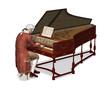 18th Century Man Playing Harpsichord - 76753137