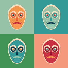 Hipster set of colorful masks with mustaches.
