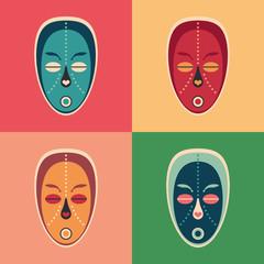 Set of colorful love ethnic masks.