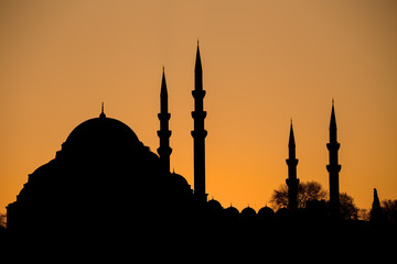 Mosque silhouette at sunset