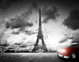 Effel Tower, Paris, France and retro red car. Black and white - 76753395
