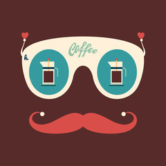 Colorful hipster vintage sunglasses with coffee kettles.