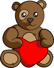 Brown teddy-bear with heart