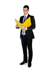 Business man reading file