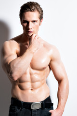 Portrait of a sexy muscular young man.
