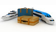 Suitcases with yacht and train. Conception of journey