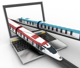 Trains coming out of a laptop. 3d render illustration