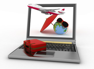 Plane with suitcase, globe and umbrella on laptop screen