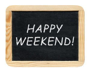 Blackboard with Happy weekend! phrase