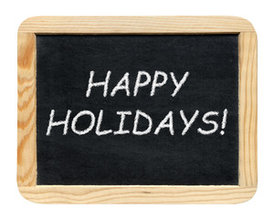 Blackboard with Happy holidays! phrase