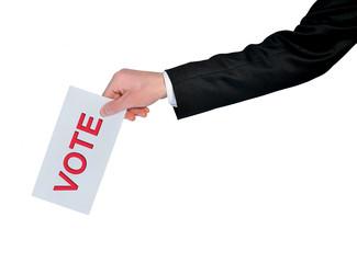 Business man hand vote