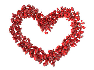 Big heart shape made of small red hearts