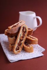 Italian biscotti cookies with nuts and chocolate