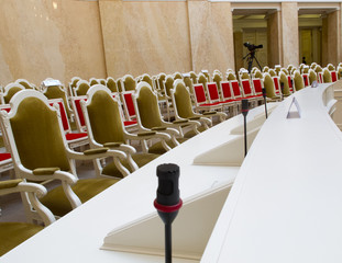 Conference microphones in a meeting room