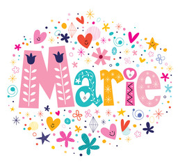 Marie female name decorative lettering type design