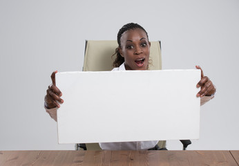 African Business woman portrait workplace blank white board