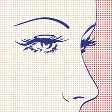 Profil pop art du visage d'une femme