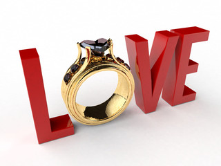 Love Text with Diamond Ring