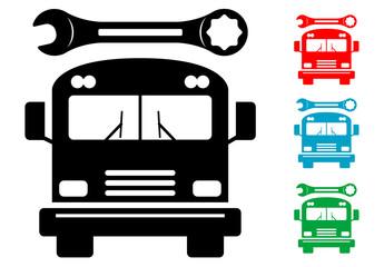 Pictograma reparacion de autobuses en varios colores
