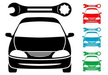 Pictograma reparacion de automoviles en varios colores
