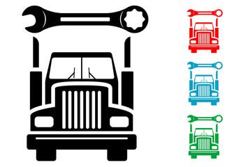 Pictograma reparacion de camion en varios colores