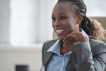 Beautiful african american businesswoman working