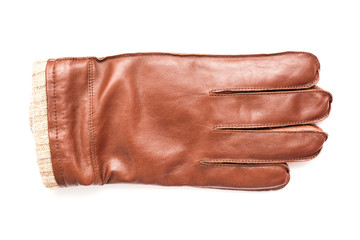 Brown Leather Glove Isolated On White