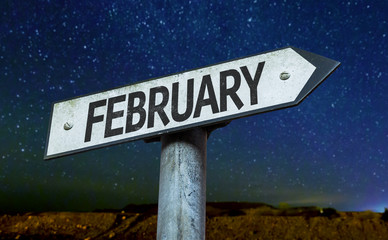 February sign with a beautiful night background