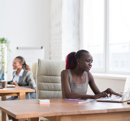 Lady working in office with colleague on background