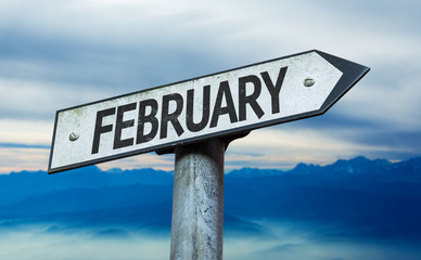 February sign with sky background