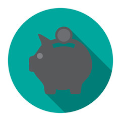 Pig Money Box icon with shadow