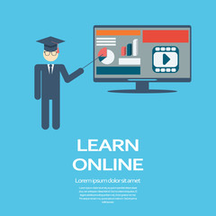 Online learning education infographic template with electronic