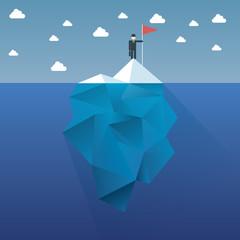 Polygon iceberg concept vector design with infographic menu