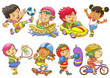 illustration of children playing different sports. - 76759561