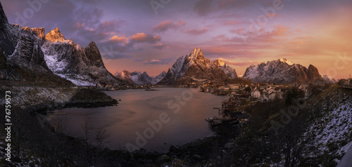Plexiglas Antarctica 2 Sunrise over Reine, Norway