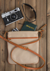 female bag with things