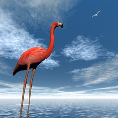 Pink flamingo - 3D render