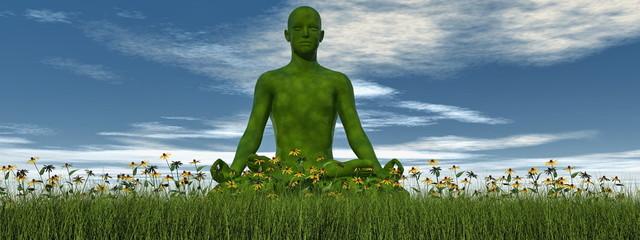 Green meditation - 3D render