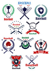 Baseball heraldic emblems or badges with equipments