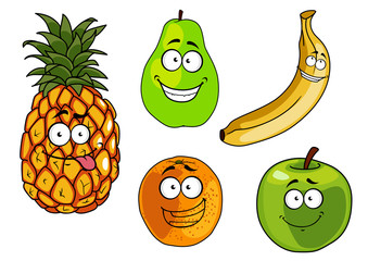 Cartoon apple, banana, orange, pineapple and pear fruits