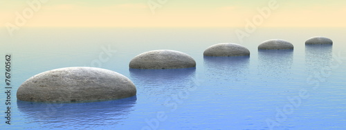 Steps on the ocean - 3D render - 76760562