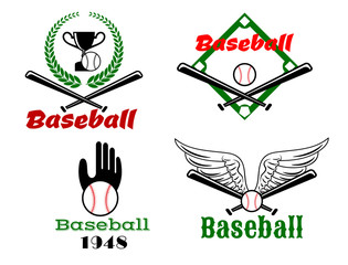 Baseball emblems with crossed bats and balls