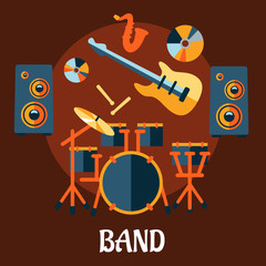 Flat musical band instruments concept