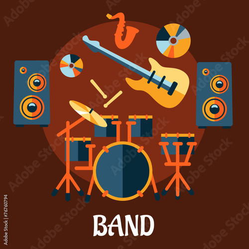 Fototapeta Flat musical band instruments concept