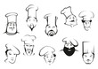 Chef or cook characters in cartoon sketch style - 76760990