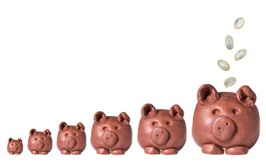 Piggy Banks with Falling Coins