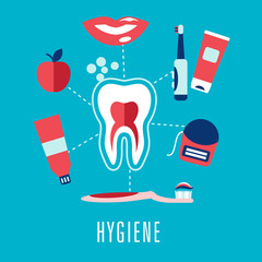 Flat dental hygiene icons on blue background
