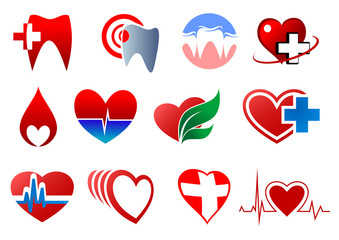 Dentistry, cardiology and blood donation symbols