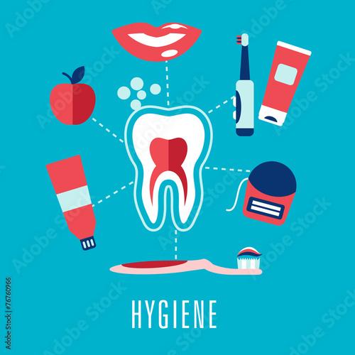 Flat dental hygiene icons on blue background - 76760966